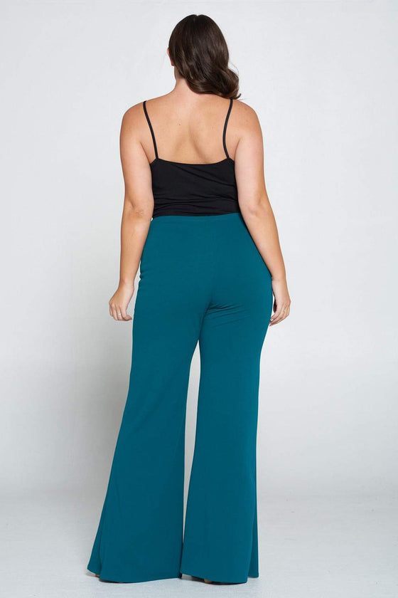 livd L I V D women's trendy contemporary plus size button detail flare pants with elastic waistband in emerald green
