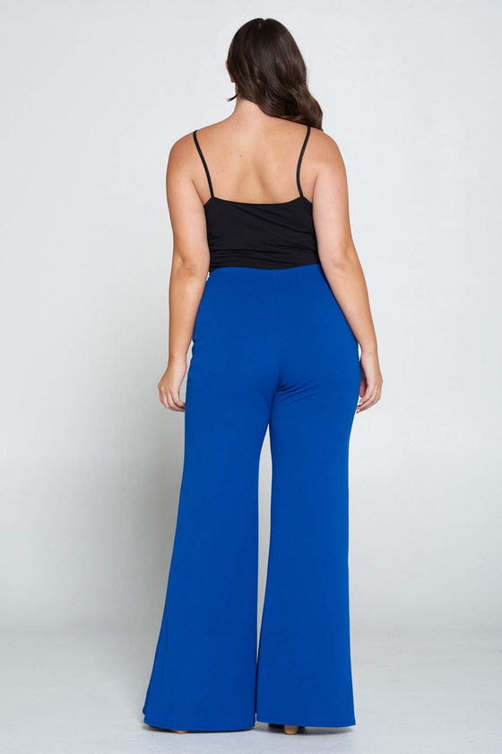livd L I V D women's trendy contemporary plus size button detail flare pants with elastic waistband in royal blue