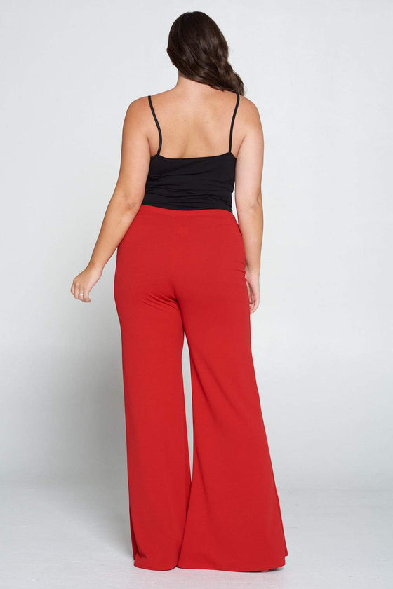 livd L I V D women's trendy contemporary plus size button detail flare pants with elastic waistband in red