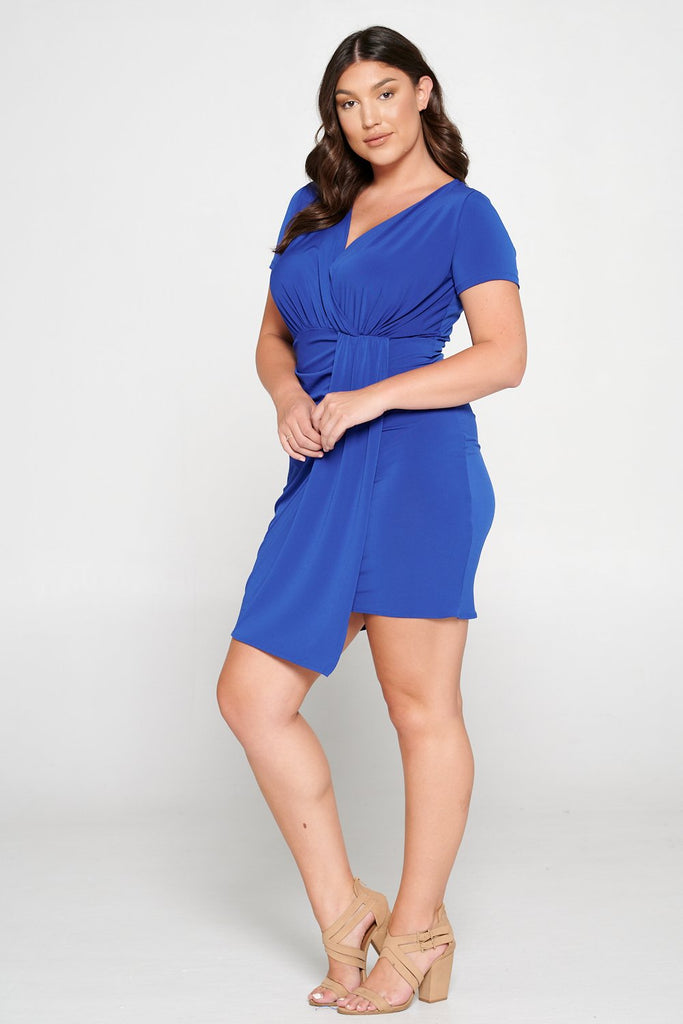 livd L I V D women's trendy contemporary plus size party mini dress with ruching and drape details in royal blue