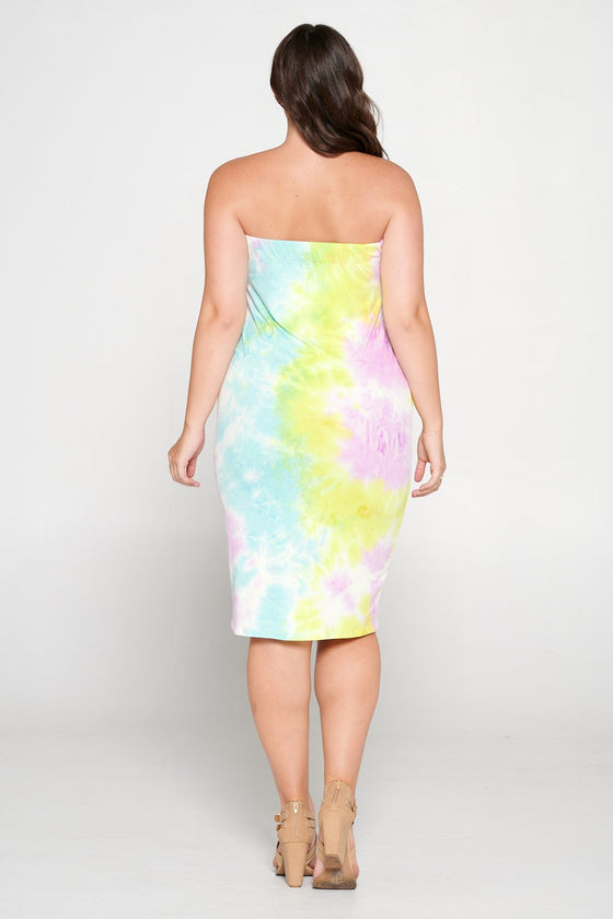 livd L I V D women's contemporary plus size clothing tube dress in yellow purple tie dye