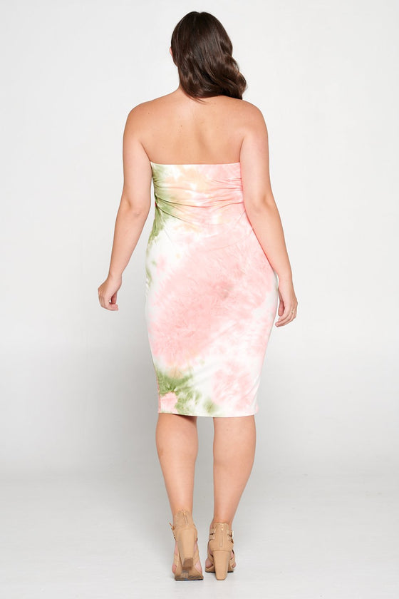livd L I V D women's contemporary plus size clothing tube dress in olive pink blush tie dye