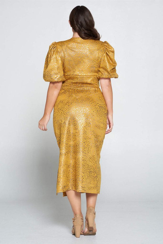 livd L I V D women's trendy contemporary plus size clothing cheetah animal silver foil print wrap top with exaggerated sleeves and high waist midi skirt in mustard yellow