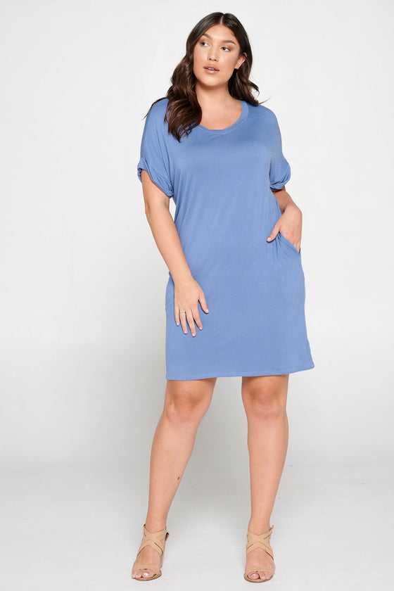 LIVD L I V D women's plus size clothing basic t-shirt dress with pockets in sky blue