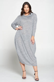 livd L I V D plus size fashion women's contemporary plus size cowl neck sweater dress in tri color grey