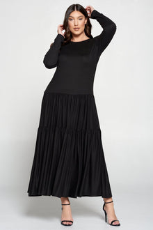 livd L I V D contemporary women's plus size boutique plus size clothing double tiered dress with long sleeves and crew neck maxi dress in black