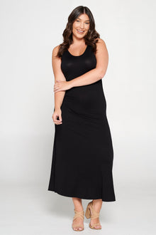 livd L I V D women's trendy contemporary plus size tank sleeveless bodycon midi dress in  black