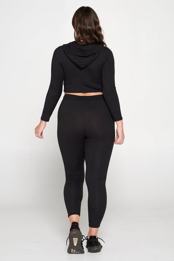livd L I V D women's contemporary plus size  scoop neck crop hoodie and elastic band sweatpant with faux drawstring in black