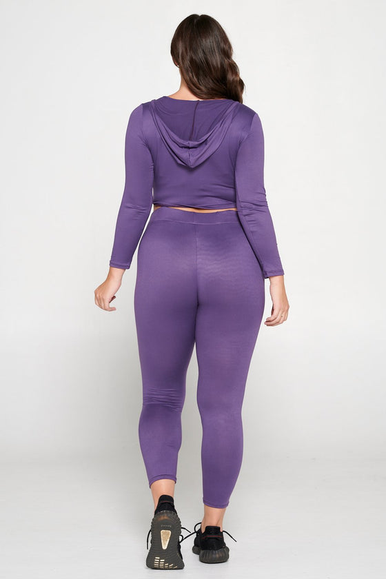 livd L I V D women's contemporary plus size  scoop neck crop hoodie and elastic band sweatpant with faux drawstring in dusty wine purple