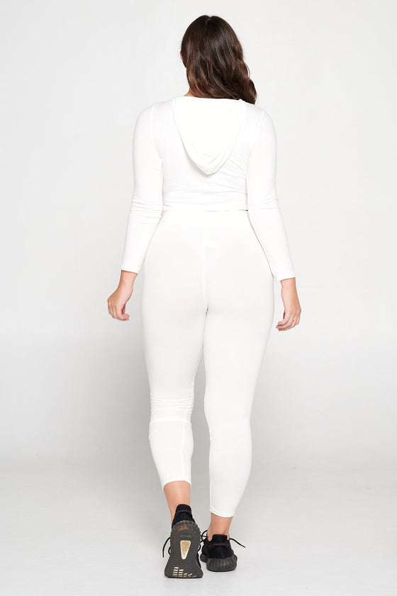 livd L I V D women's contemporary plus size  scoop neck crop hoodie and elastic band sweatpant with faux drawstring in off white