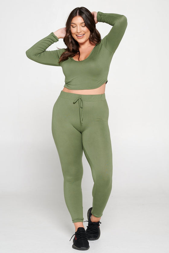 livd L I V D women's contemporary plus size  scoop neck crop hoodie and elastic band sweatpant with faux drawstring in moss green