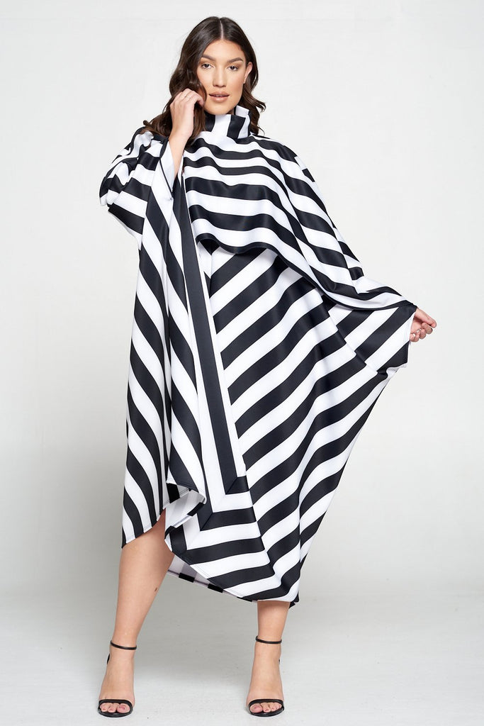 livd L I V D women's contemporary plus size fashion trendy mock neck poncho dress in black and white stripes