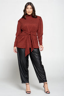 livd plus size boutique shop women's okus size wrap top hacci sweater in rust orange
