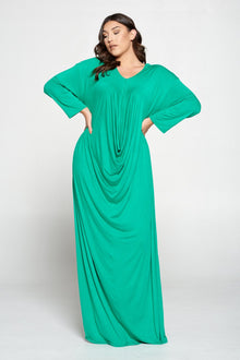 livd L I V D women's plus size fashion floor length drape dress in palm green color with long sleeves made in USA