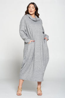 livd contemporary plus size boutique womens plus size fashion brushed rib hacci dress with pockets in heather grey