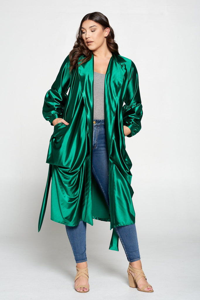 livd L I V D women's contemporary plus size fashion tie coat in shiny stretch satin in gucci green emerald