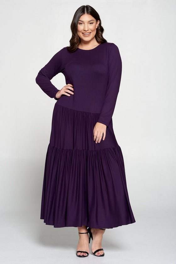 livd L I V D contemporary women's plus size boutique plus size clothing double tiered dress with long sleeves and crew neck maxi dress in eggplant purple