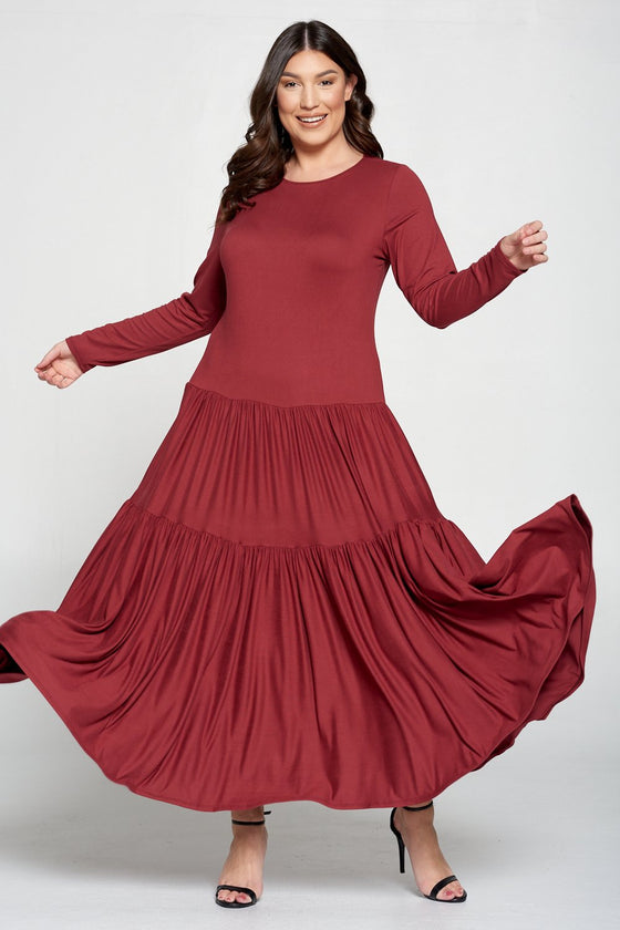 livd L I V D contemporary women's plus size boutique plus size clothing double tiered dress with long sleeves and crew neck maxi dress in marsala rust brown red