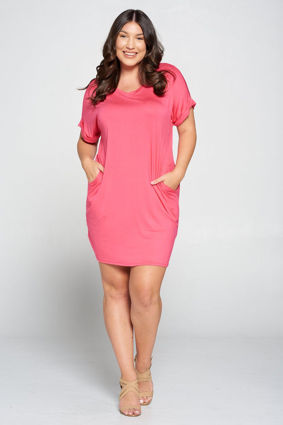 LIVD L I V D women's plus size clothing basic t-shirt dress with pockets in guava pink