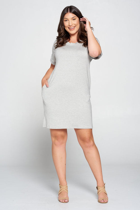 LIVD L I V D women's plus size clothing basic t-shirt dress with pockets in heather grey