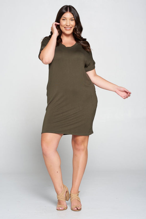 LIVD L I V D women's plus size clothing basic t-shirt dress with pockets in OLIVE