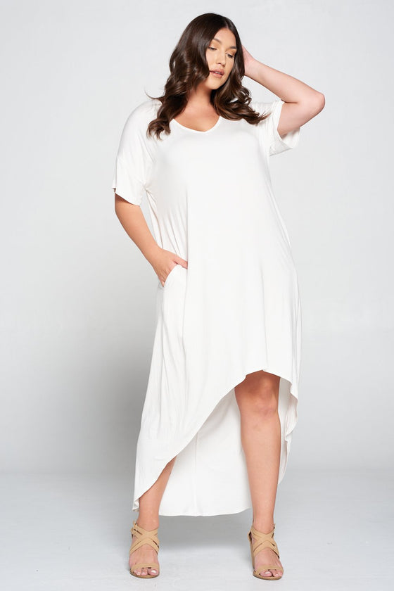livd L I V D women's contemporary plus size clothing high low hi lo dress with pockets v neck sleeves in white ivory