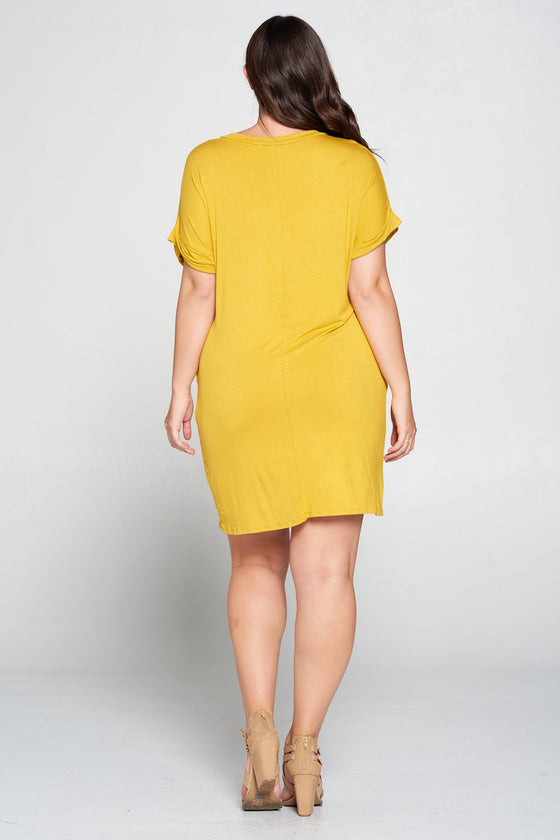 LIVD L I V D women's plus size clothing basic t-shirt dress with pockets in mustard