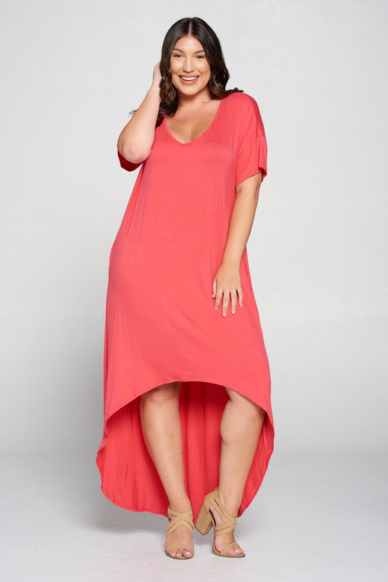 livd L I V D women's contemporary plus size clothing high low hi lo dress with pockets v neck sleeves in coral pink