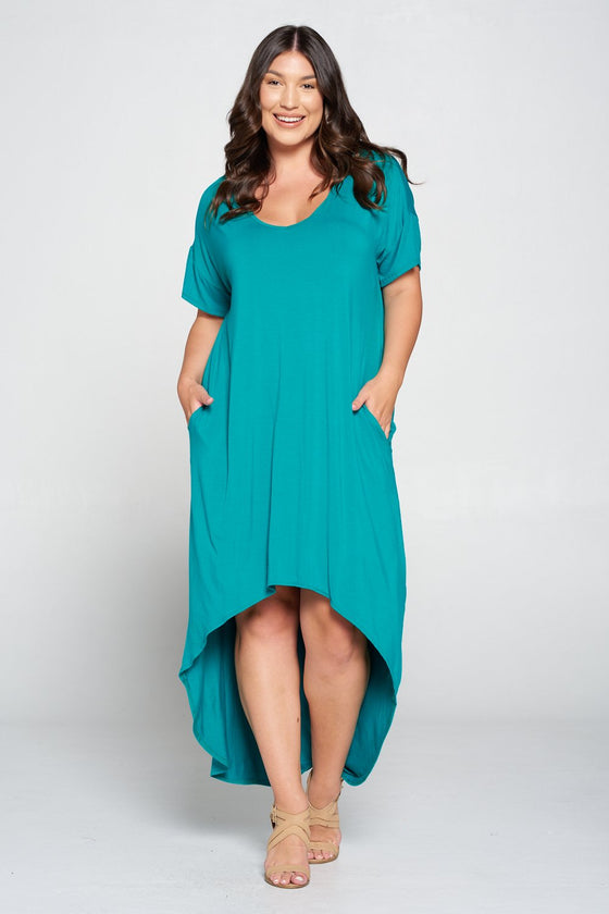 livd L I V D women's contemporary plus size clothing high low hi lo dress with pockets v neck sleeves in jade