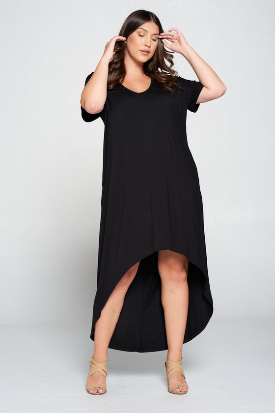 livd L I V D women's contemporary plus size clothing high low hi lo dress with pockets v neck sleeves in black