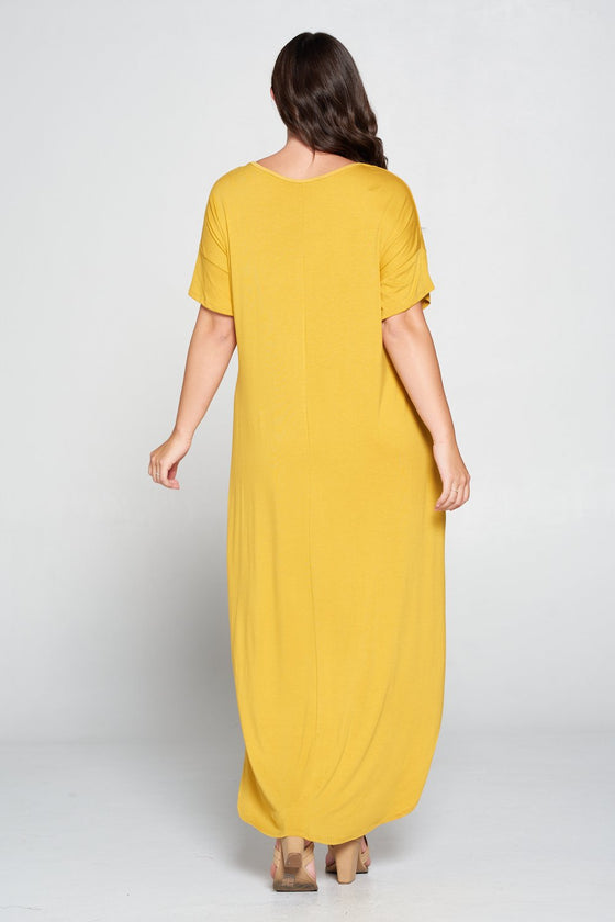 livd L I V D women's contemporary plus size clothing high low hi lo dress with pockets v neck sleeves in mustard yellow