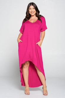 livd L I V D women's contemporary plus size clothing high low hi lo dress with pockets v neck sleeves in fuchsia mix of pink purple