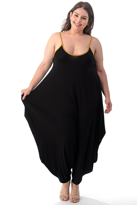 LIVD L I V D women's plus size harem jumpsuit in black