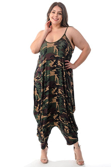 LIVD L I V D women's plus size harem jumpsuit in camo