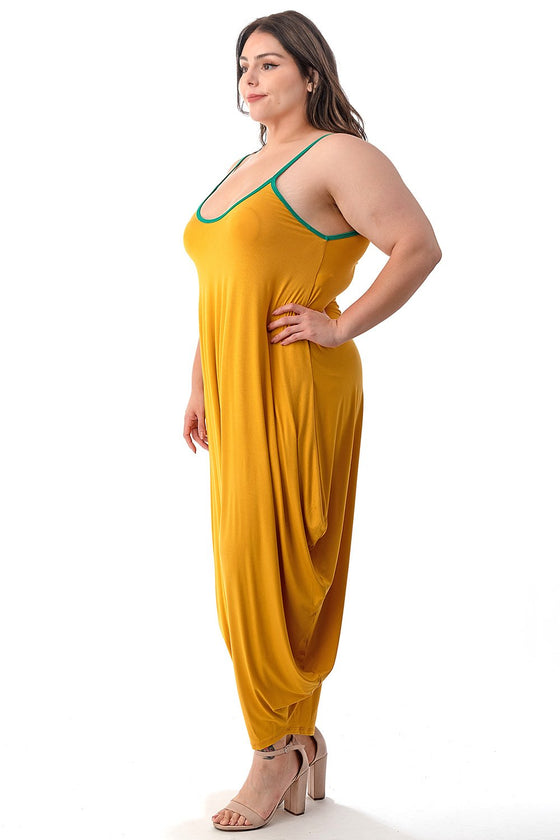 LIVD L I V D women's plus size harem jumpsuit in mustard