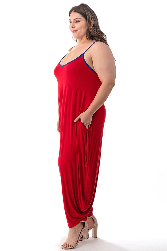 LIVD L I V D women's plus size harem jumpsuit in red