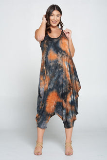 LIVD L I V D women's plus size harem jumpsuit in tie dye black and rust
