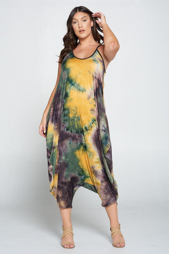 LIVD L I V D women's plus size harem jumpsuit in tie dye green and yellow