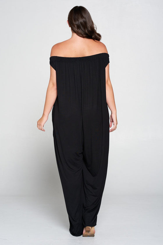 livd L I V D women's contemporary plus size clothing off shoulder full length jumpsuit with pockets in black