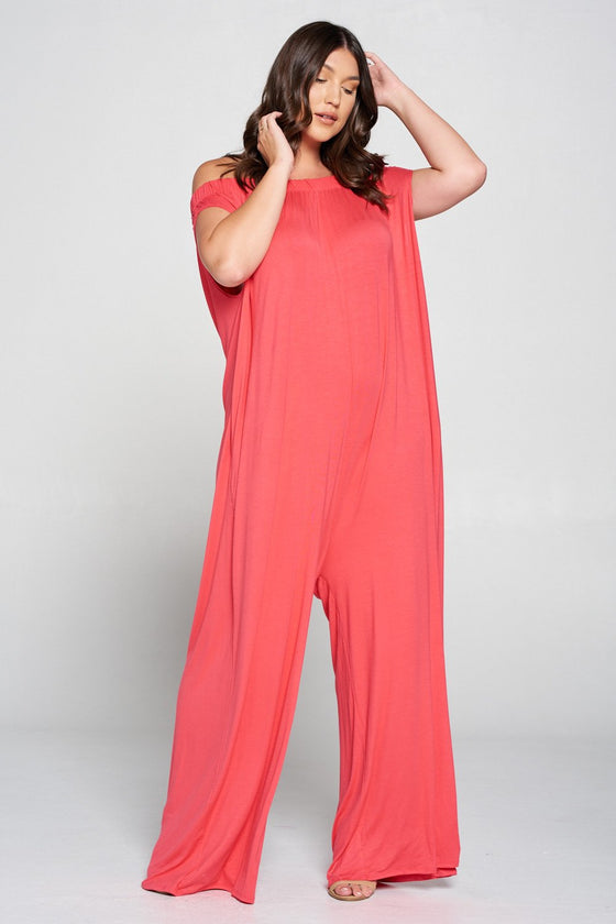 livd L I V D women's contemporary plus size clothing off shoulder full length jumpsuit with pockets in coral