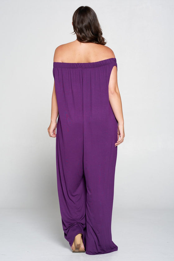 livd L I V D women's contemporary plus size clothing off shoulder full length jumpsuit with pockets in eggplant