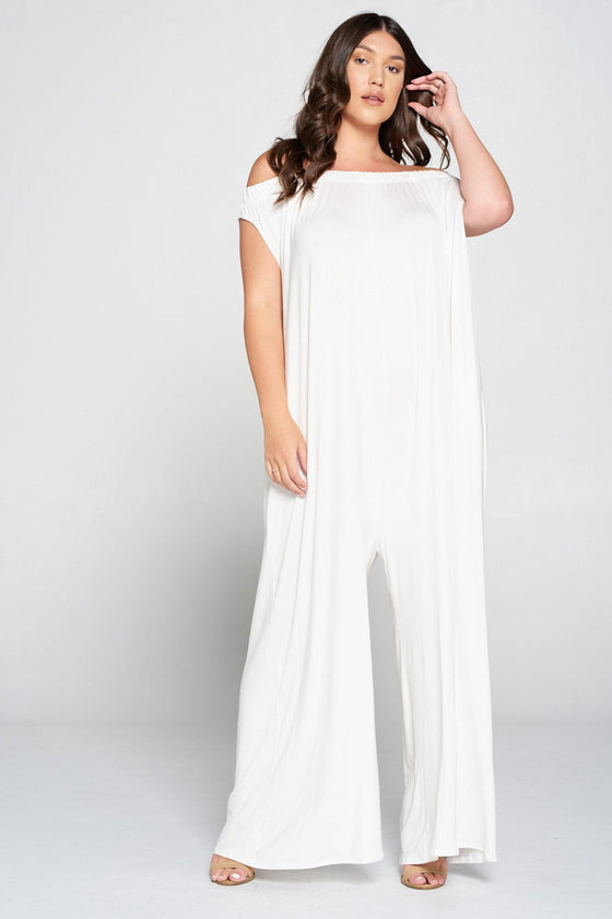 livd L I V D women's contemporary plus size clothing off shoulder full length jumpsuit with pockets in ivory