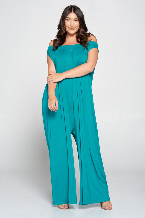 livd L I V D women's contemporary plus size clothing off shoulder full length jumpsuit with pockets in jade