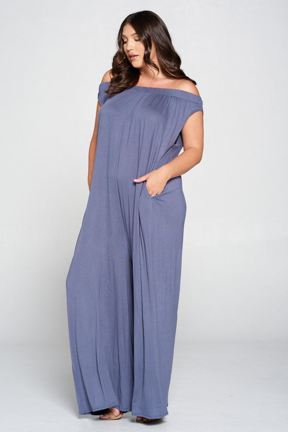 livd L I V D women's contemporary plus size clothing off shoulder full length jumpsuit with pockets in mineral