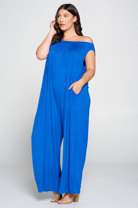 livd L I V D women's contemporary plus size clothing off shoulder full length jumpsuit with pockets in royal