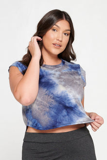 LIVD Apparel chic trendy plus size clothing blue navy tie dye loose fitting crop top with mini cap sleeves