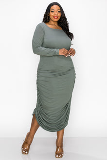 livd apparel side ruched midi dress with long sleeves in light olive