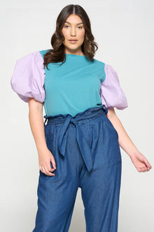 livd apparel colorblock puff sleeve top in seafoam teal and lilac purple