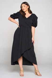 Puff Sleeve Tulip Wrap Dress