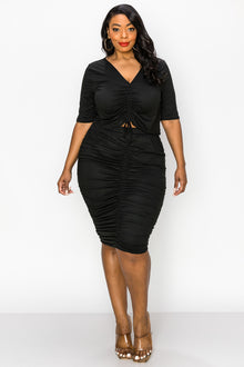 Ruched Crop Top and Skirt Set